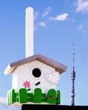 Casella creativa fatta a mano del nestling sulla priorità bassa del cielo Fotografia Stock Libera da Diritti