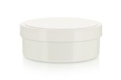Casella crema in bianco su bianco immagini stock