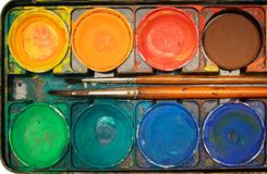 Casella degli acquerelli (vista superiore) Fotografia Stock Libera da Diritti