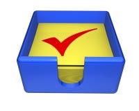 Casella degli assegni appiccicosi Fotografie Stock