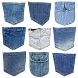 Casella dei jeans isolata su bianco Insieme della tasca differente dei jeans Immagine Stock Libera da Diritti