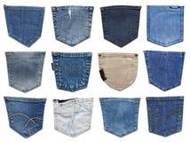Casella dei jeans isolata su bianco Insieme della tasca differente dei jeans Fotografia Stock