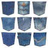 Casella dei jeans isolata su bianco Insieme della tasca differente dei jeans Fotografia Stock Libera da Diritti