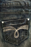 Casella dei jeans nella fine in su Immagine Stock