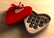 Casella del biglietto di S. Valentino del cioccolato Fotografia Stock Libera da Diritti