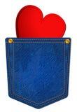 Casella del Jean blu con cuore Immagini Stock