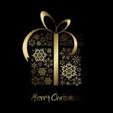 Casella del regalo di Natale fatta dai fiocchi di neve dorati Immagini Stock Libere da Diritti