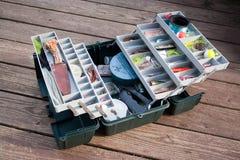 Casella di attrezzatura di pesca immagini stock