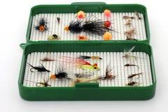 Casella di attrezzatura per pesca di mosca Fotografie Stock Libere da Diritti