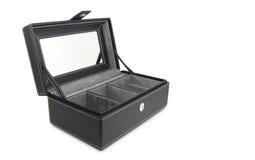 Casella di cuoio nera fotografia stock