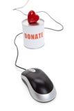 Casella di donazione e cuore rosso fotografie stock