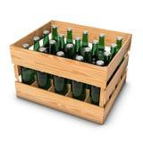 Casella di legno con le bottiglie Fotografia Stock Libera da Diritti