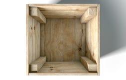 Casella di legno vuota Immagini Stock