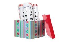 Casella di regalo e del calendario Fotografia Stock Libera da Diritti
