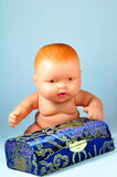 Casella di regalo e della bamboletta Fotografie Stock Libere da Diritti