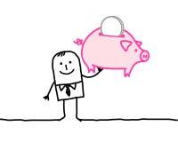 Casella di soldi e del banchiere Immagine Stock