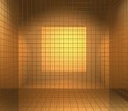 Casella dorata impressa con la cella Fotografia Stock