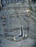 Casella e rip dei jeans Fotografie Stock