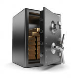 Casella ed oro sicuri d'acciaio 3D. Protezione Fotografia Stock Libera da Diritti