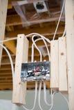 Casella elettrica con collegamenti Fotografie Stock Libere da Diritti