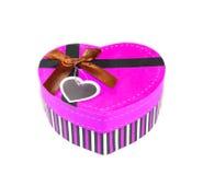 Casella in forma di cuore rosa Fotografie Stock