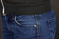 Casella fronta dei jeans Immagini Stock