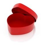 Casella Heart-Shaped rossa Fotografia Stock