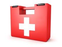 Casella medica del kit dei pronto soccorsi su priorità bassa bianca Fotografie Stock Libere da Diritti