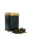 Casella per tè e tè verde asciutto Immagini Stock