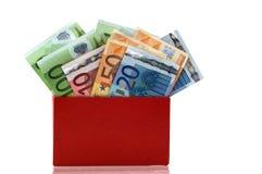 Casella rossa con gli euro Immagine Stock Libera da Diritti