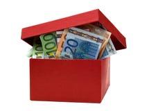 Casella rossa con gli euro Fotografia Stock