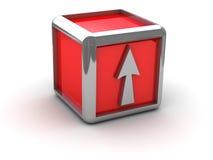 Casella rossa con la freccia Fotografie Stock Libere da Diritti