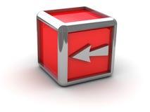 Casella rossa con la freccia lasciata Immagine Stock