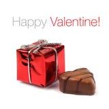 Casella rossa del presente del biglietto di S. Valentino Fotografie Stock