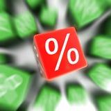 Casella rossa delle percentuali Fotografia Stock
