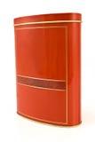 Casella rossa di alluminio con il coperchio immagine stock