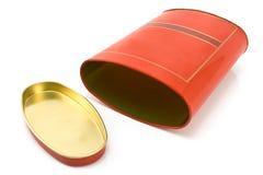 Casella rossa di alluminio con il coperchio fotografie stock