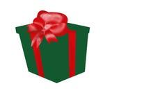 Casella spostata regalo con il nastro e l'arco rossi Fotografia Stock Libera da Diritti