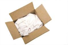 Casella vuota con il documento di imballaggio Fotografia Stock Libera da Diritti