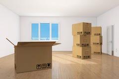 Caselle commoventi nella stanza empy dell'appartamento Fotografia Stock Libera da Diritti