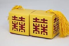 Caselle con il simbolo cinese di felicità di unione Fotografia Stock