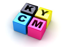 Caselle con le lettere CMYK Immagini Stock
