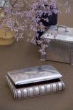Caselle d'argento antiche fotografia stock libera da diritti