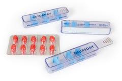 Caselle della pillola con le pillole Fotografia Stock