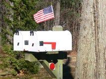 Caselle della posta degli Stati Uniti con la bandierina Fotografia Stock