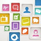 Caselle di colore con le icone di media Immagini Stock