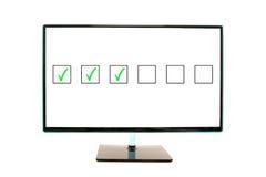 Caselle di controllo infiammanti piane dello schermo di monitor Immagine Stock