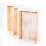 Caselle di legno vuote Immagini Stock