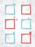 Caselle di testo di Natale su un fondo del fiocco di neve con le ombre realistiche 1 di vettore Fotografia Stock