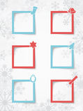 Caselle di testo di Natale su un fondo del fiocco di neve con le ombre realistiche 2 di vettore Immagini Stock